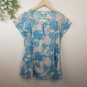 ModCloth • Sheer Blue and Pink Floral Blouse